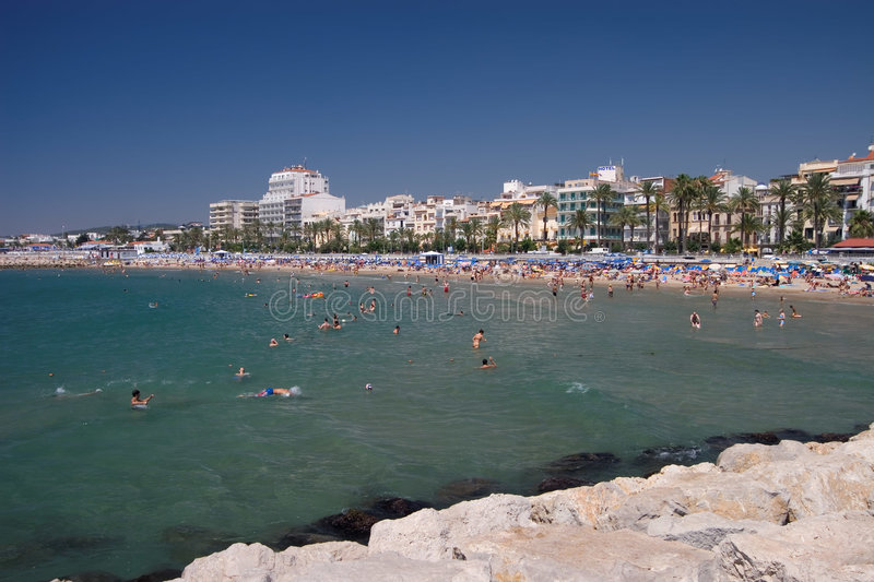 Sitges Beach Landscape royalty free stock image