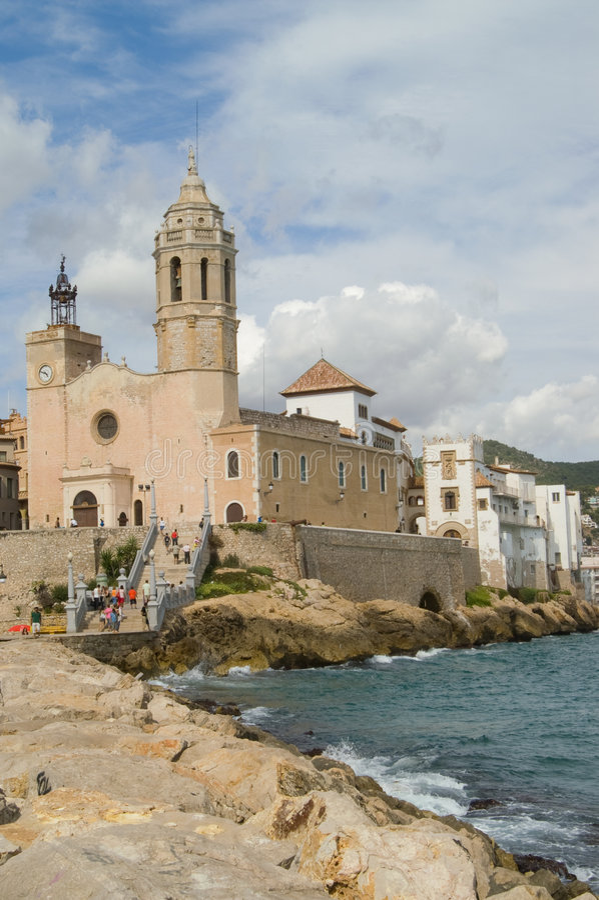 Sitges, kerk en paleis royalty-vrije stock foto