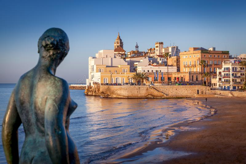Sitges old town beachfront royalty free stock photography