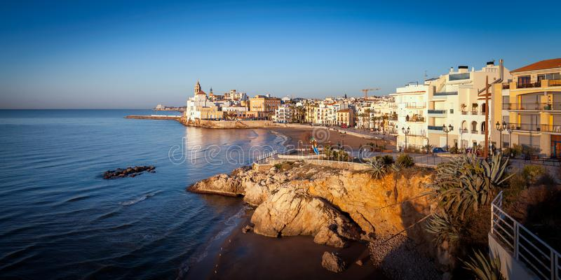 Sitges panorama in summer royalty free stock image