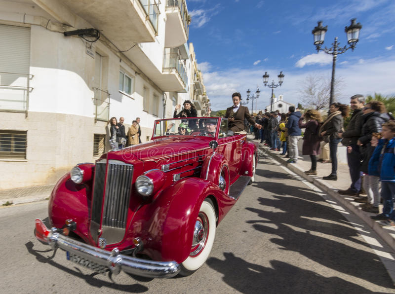 Sitges, Spain - March 5 2017: 59th Vintage Car Rally Barcelona-Sitges royalty free stock image