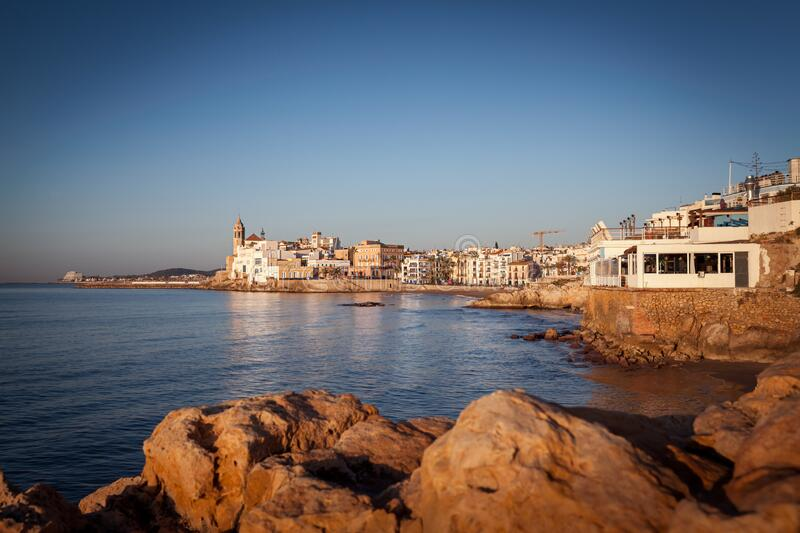 Sitges at sunrise, spain, barcelona royalty free stock photos