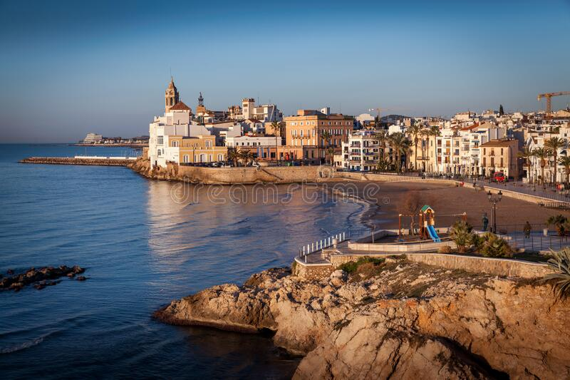 Sitges sunset in summer stock photos