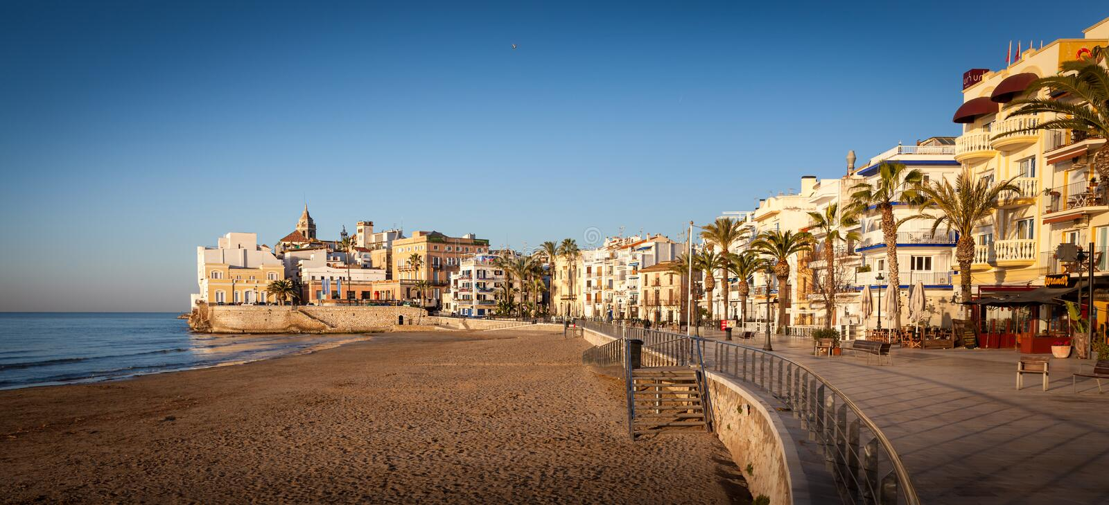 Sitges is a town near Barcelona in Catalunya, Spain. It is famous for its beaches and nightlife royalty free stock image