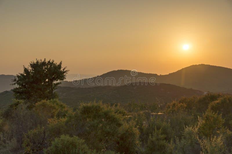 Sithonia zmierzchy krajobrazy, Chalkidiki, Sithonia, Środkowy Macedonia obraz royalty free