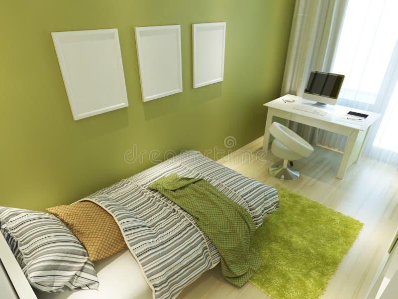 Sitio adolescente contemporáneo para el color verde con una cama y un escritorio libre illustration