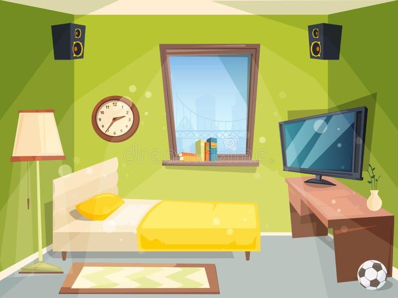 Sitio adolescente Pequeño dormitorio para el apartamento del estudiante de los niños dentro de la historieta interior moderna del libre illustration