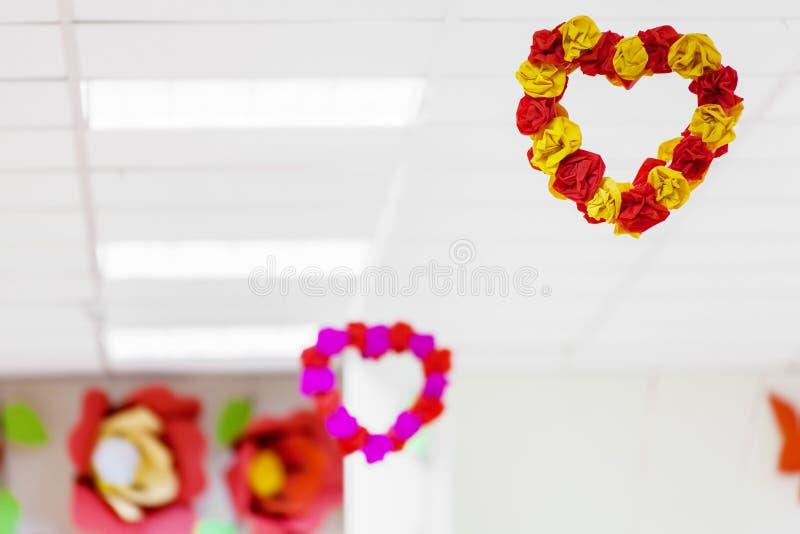 Sitio adornado para el día del ` s de la tarjeta del día de San Valentín fotos de archivo libres de regalías