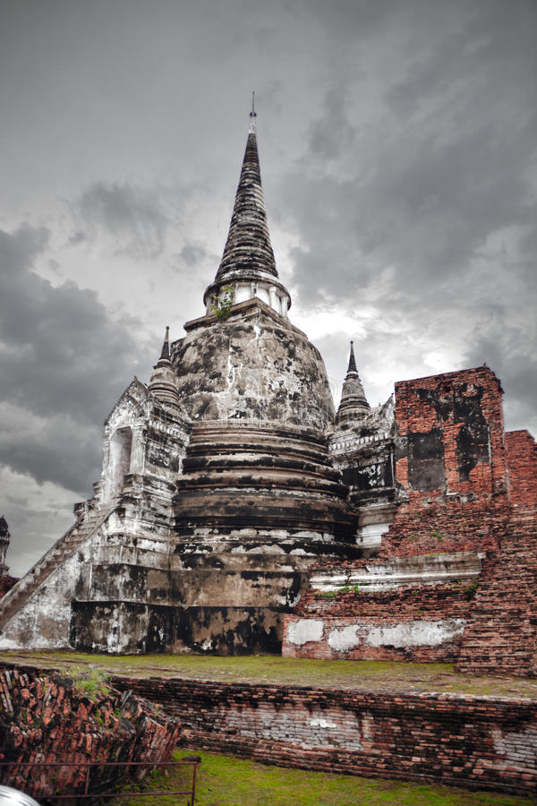 Sitio arqueológico, Ayutthaya, Tailandia foto de archivo libre de regalías