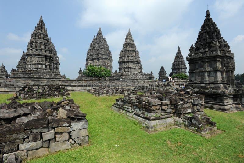 Sitio arqueológico de Prambanan en la isla de Java foto de archivo libre de regalías