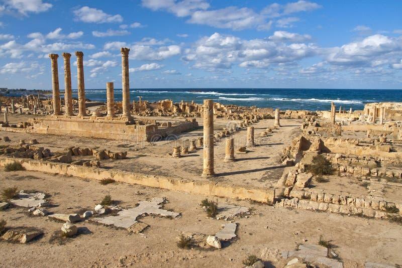 Sitio arqueológico de Sabratha, Libia fotografía de archivo