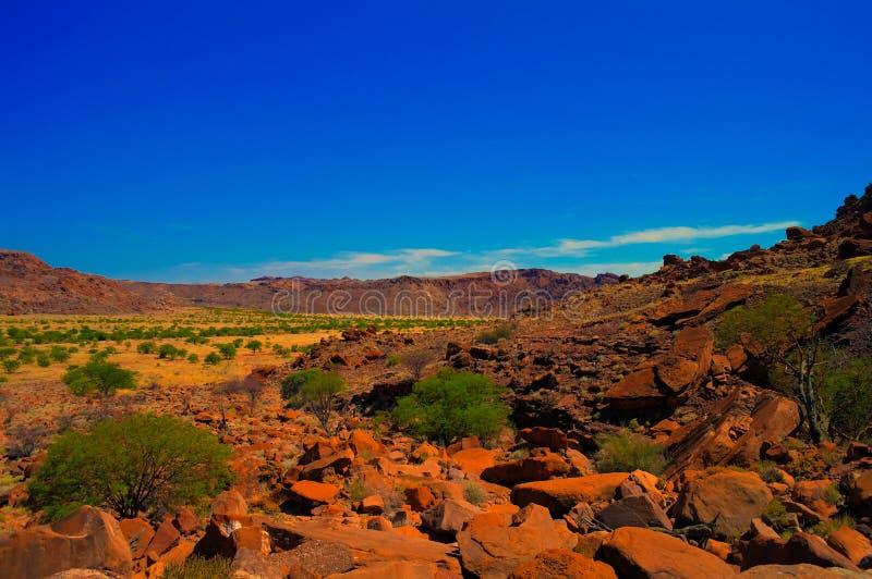 Sitio arqueológico de Twyfelfontein en Namibia fotos de archivo libres de regalías