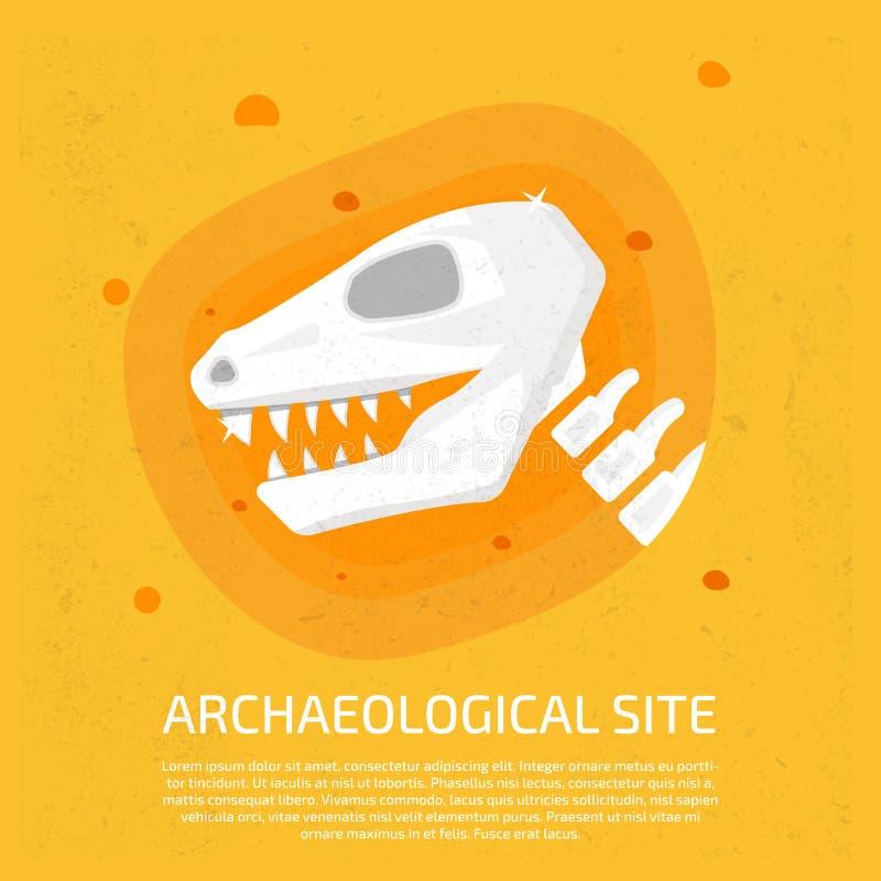 Sitio arqueológico Icono del dinosaurio arqueológico ilustración del vector