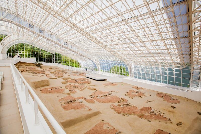 Sitio arqueológico Lepenski Vir foto de archivo