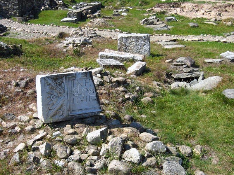 Sitio arqueológico - Ulpia Traiana Sarmizegetusa, Rumania fotografía de archivo libre de regalías