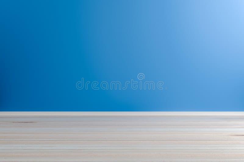 Sitio azul claro interior vacío con el piso de madera, para la exhibición stock de ilustración