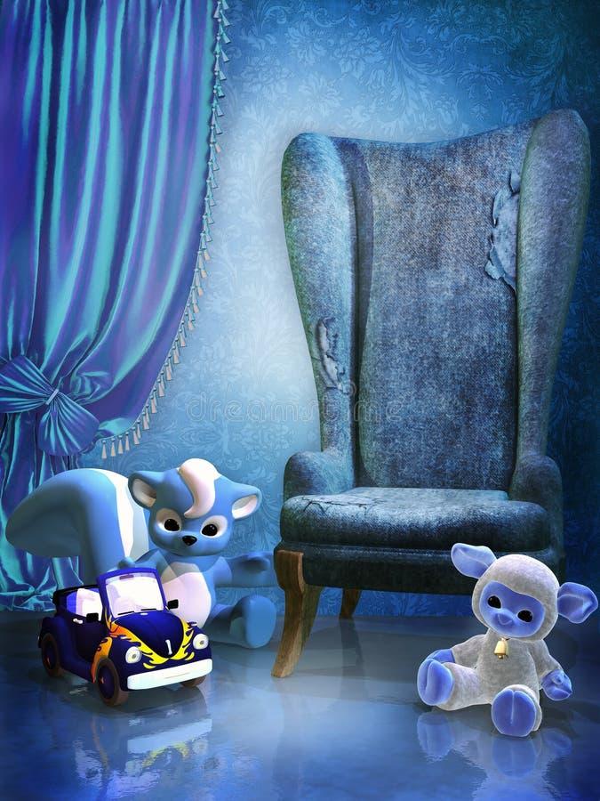 Sitio azul con los juguetes stock de ilustración
