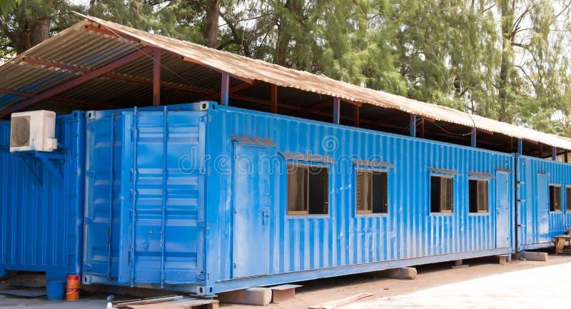 Sitio azul de la oficina del envase del color fotografía de archivo