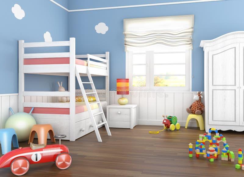 Sitio azul de los children´s con los juguetes stock de ilustración