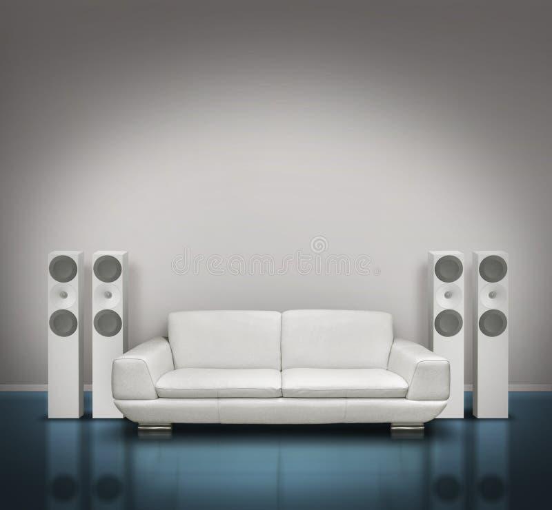 Sitio azul y blanco de la música stock de ilustración