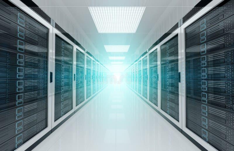 Sitio blanco del centro de datos de los servidores con la luz brillante del halo a través de la representación del pasillo 3D ilustración del vector