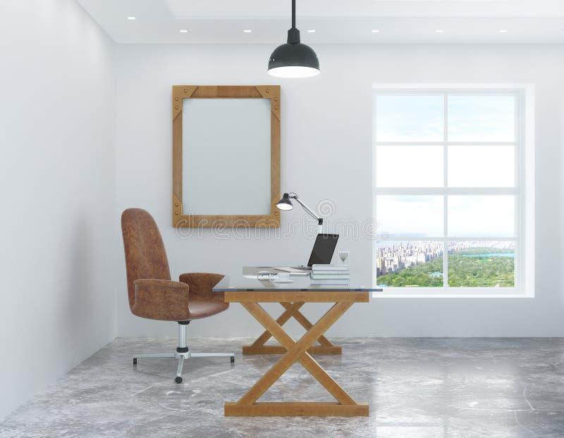 Sitio blanco en el estilo del desván con un escritorio y una silla y una imagen fotografía de archivo