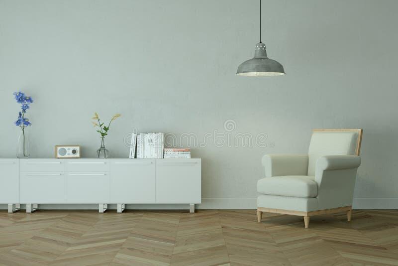 Sitio brillante con la silla blanca delante de una pared gris stock de ilustración