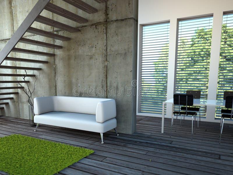 Sitio brillante moderno del diseño interior con el sofá ilustración del vector