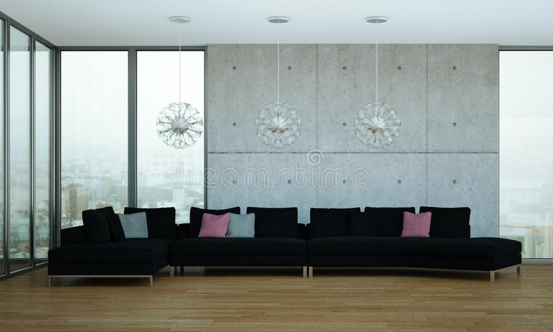 Sitio brillante moderno del diseño interior con el sofá negro libre illustration
