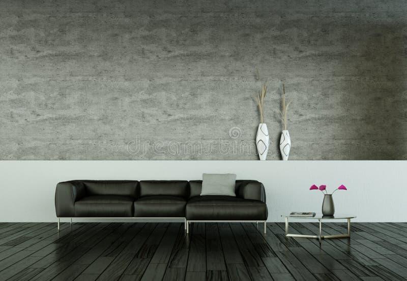 Sitio brillante moderno del diseño interior con el sofá negro stock de ilustración