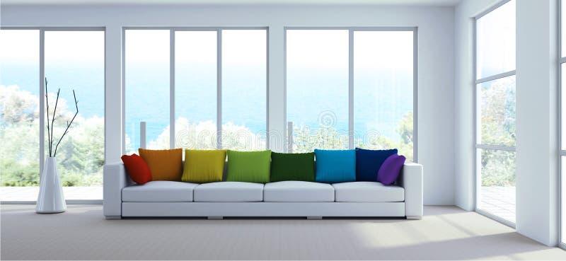 Sitio brillante moderno del diseño interior con las almohadas blancas del sofá y del arco iris ilustración del vector
