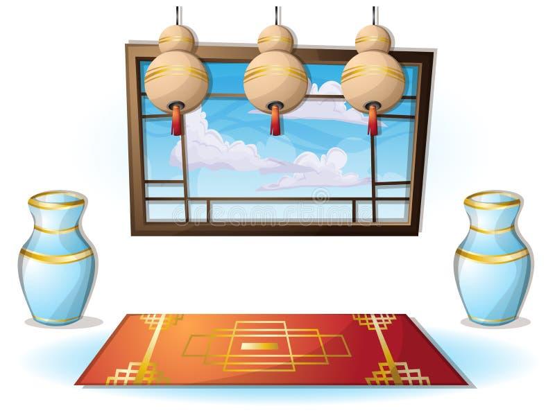 Sitio chino interior del ejemplo del vector de la historieta con capas separadas stock de ilustración