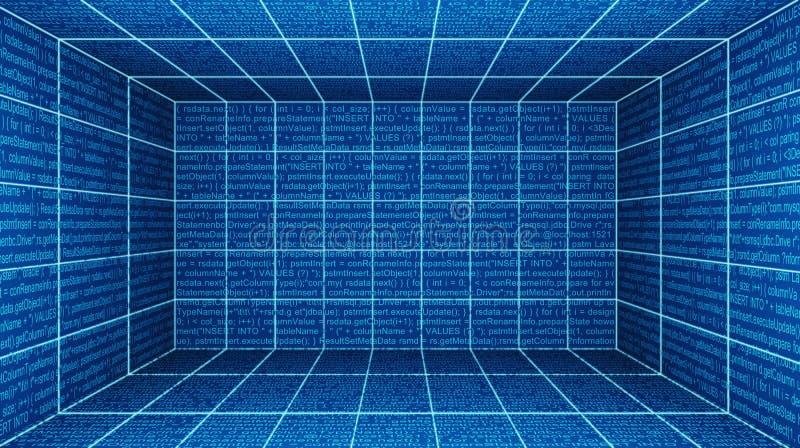 Sitio cibernético virtual de la realidad, monitores de la pantalla con el código de ordenador i ilustración del vector