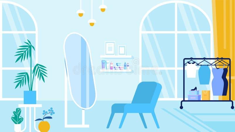 Sitio con el interior azul Salón y sala de exposición de belleza ilustración del vector