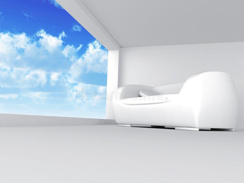 Sitio con el sofá stock de ilustración