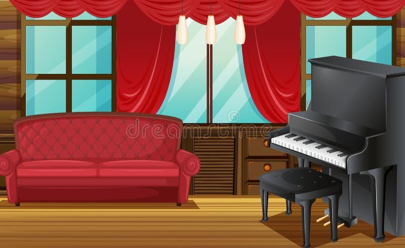 Sitio con el sofá y el piano rojos stock de ilustración