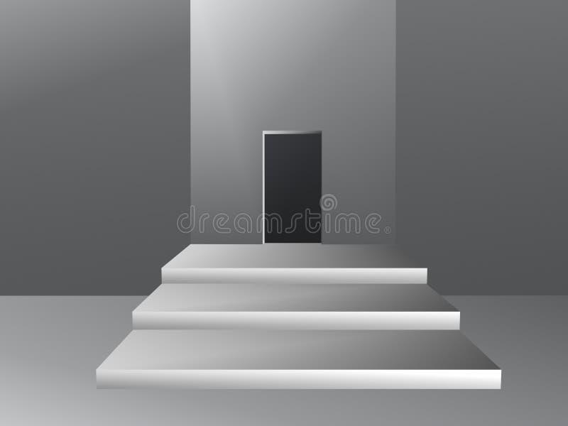 Sitio con la abertura en el ejemplo de la pared stock de ilustración