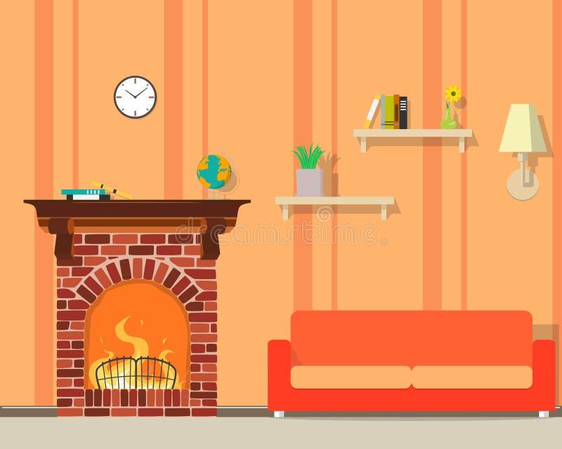 Sitio con la chimenea stock de ilustración