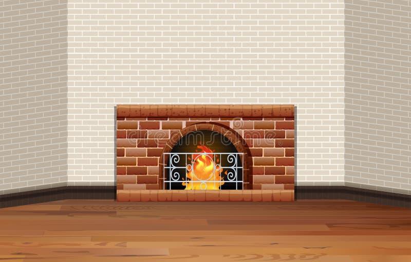 Sitio con la chimenea y la pared de ladrillo stock de ilustración
