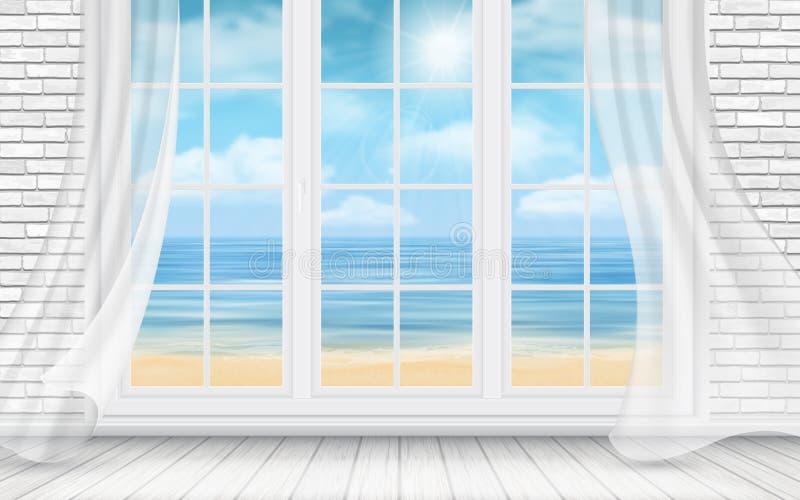 Sitio con la pared de ladrillo y la ventana blancas stock de ilustración