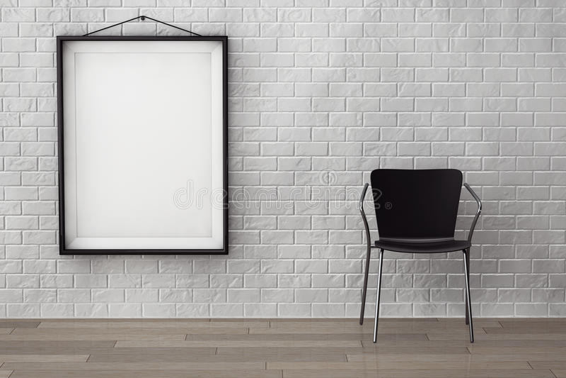 Sitio con la silla moderna y la imagen en blanco libre illustration