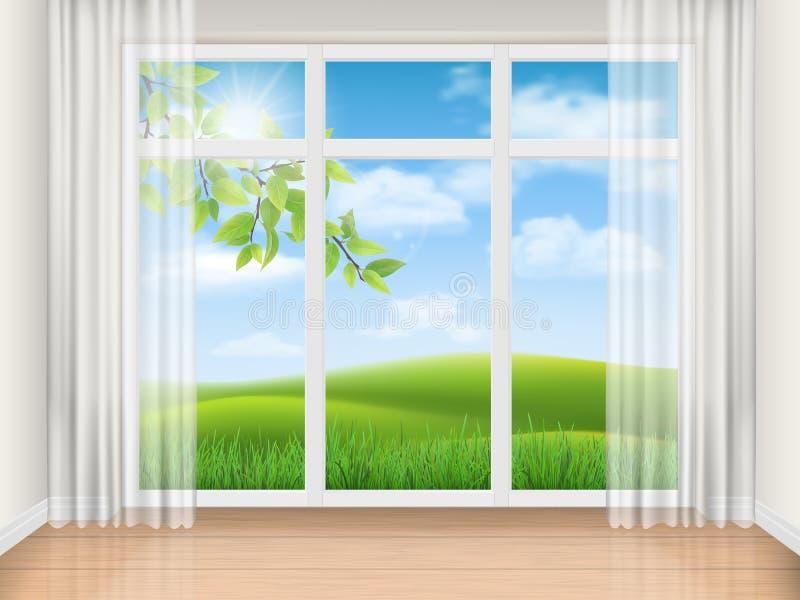Sitio con la ventana grande y el paisaje del verano libre illustration