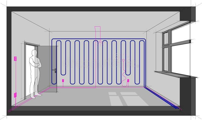 Sitio con las instalaciones y el enfriamiento eléctricos de la pared ilustración del vector