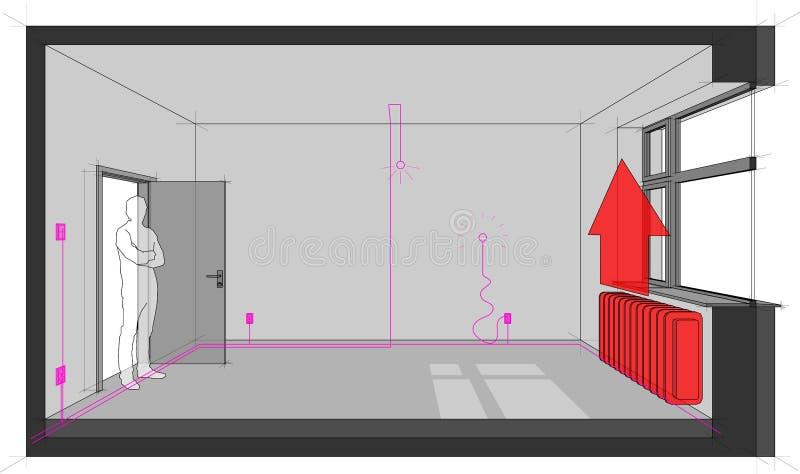 Sitio con las instalaciones y la calefacción eléctricas del radiador libre illustration