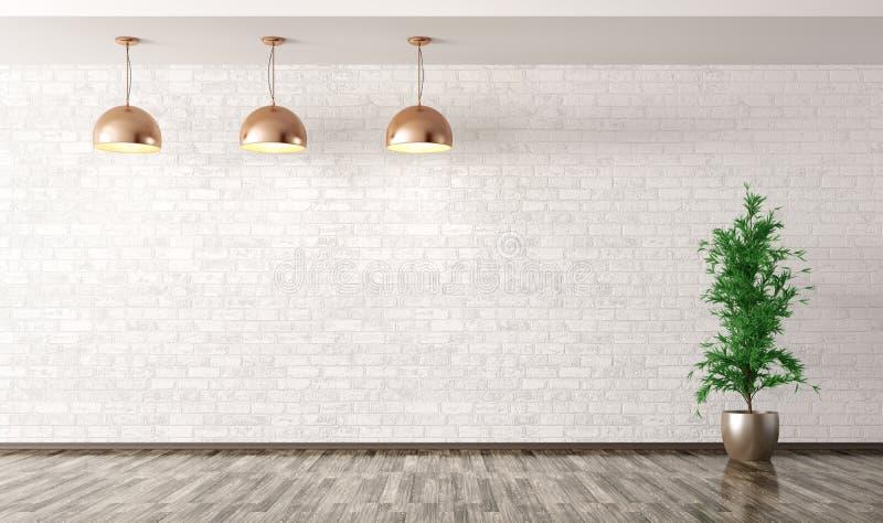 Sitio con las lámparas de cobre del metal sobre la representación blanca de la pared de ladrillo 3d ilustración del vector
