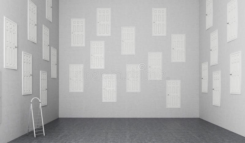 Sitio con muchas puertas stock de ilustración