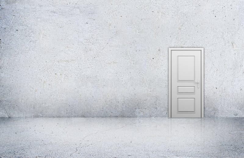 Sitio concreto con la pared vacía y la puerta de madera foto de archivo