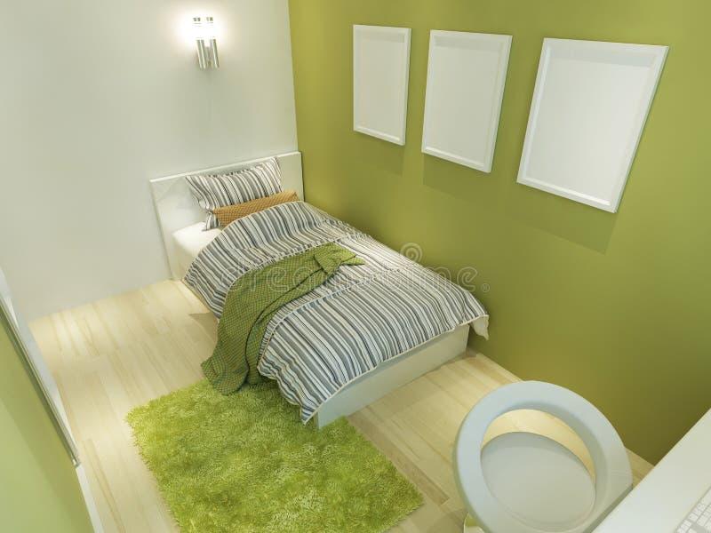 Sitio contemporáneo para un adolescente con posts grandes de la cama y de la maqueta stock de ilustración