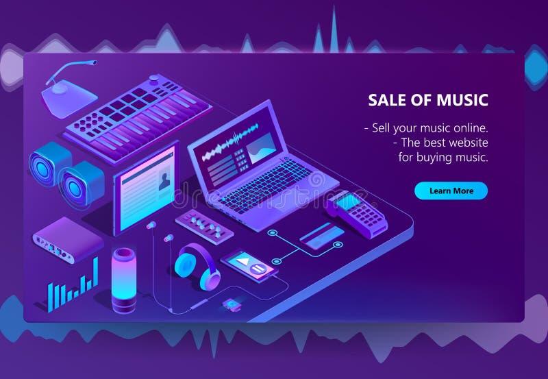 Sitio de comercio electrónico isométrico del vector 3d de la música libre illustration