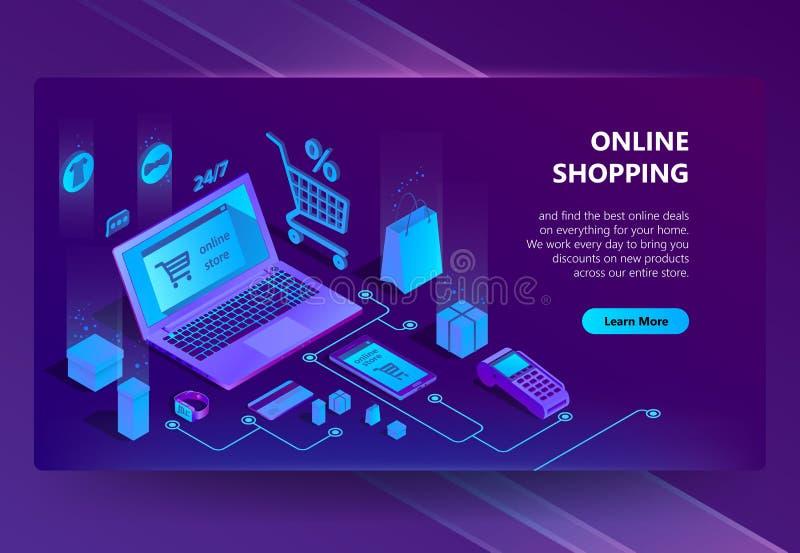 Sitio de comercio electrónico isométrico del vector 3d, tienda en línea ilustración del vector
